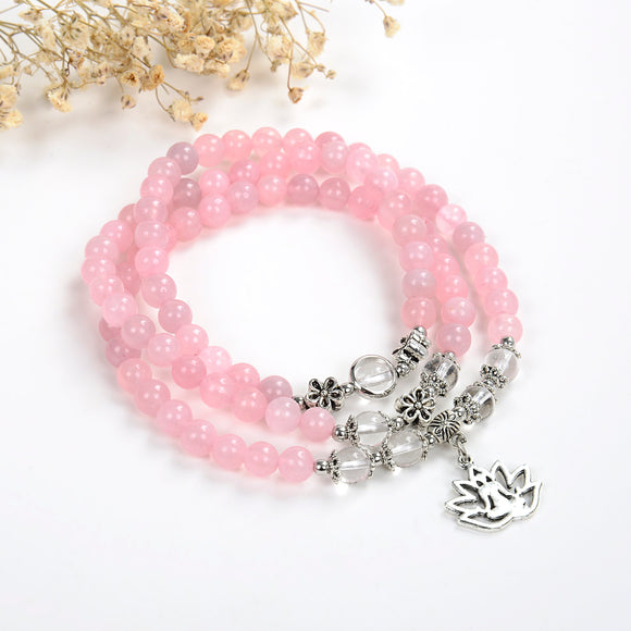 Layered Rose Quartz Bracelet Or Necklace, Buddha In Lotus Charm, BRT2032RQ