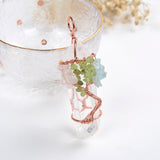 Rock Crystal Pendant Gemstone Copper Plated Wire Tree Design, PND6002XX