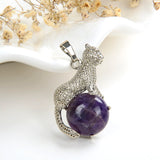 Gemstone Round Pendant With Silver Plated Copper Leopard Design, PND4060XX