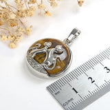 Gemstone Round Pendant With Silver Plated Cats Design, Small Size, PND4081XX