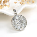 Gemstone Round Pendant Silver Plated Copper Owl-On-Tree Design, PND5031XX