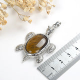 Gemstone Sea Turtle Pendant Silver Plated Design&Bail, Medium Size, PND5041XX