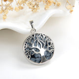 Gemstone Round Pendant Tree-Of-Life Silver Plated Design, Small Size, PND5081XX