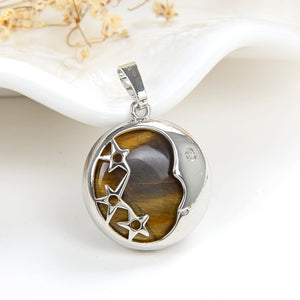 Gemstone Round Pendant Moon&Stars Silver Plated Copper Design, PND5011XX