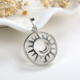 Gemstone Round Pendant Moon-In-Sun Silver Plated Copper Design, PND5061XX