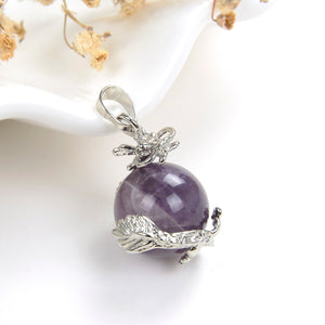 Gemstone Sphere Pendant With Small Silver Plated Dragon Design, PND4031XX