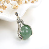 Gemstone Sphere Pendant Silver Plated Ball-In-Hands Design, PNG5091XX