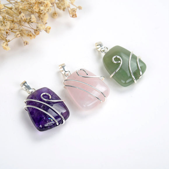 Gemstone Pendant With Silver Pated Wire Wave Design, PND6091XX