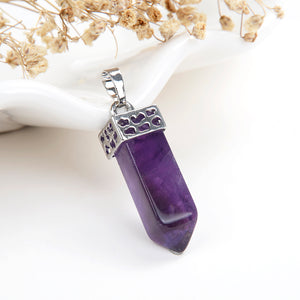 4-Sided Crystal Point Pendant With Silver Plated Casing&Bail, PND5078XX