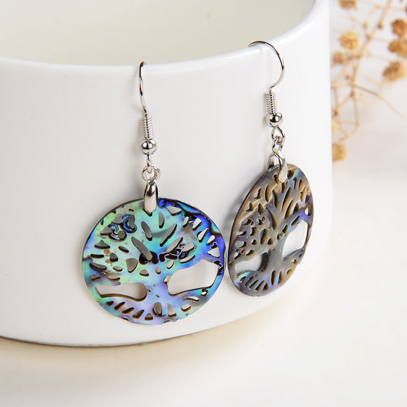 Abalone Paua Tree Earrings Silver Plated Casings&Hooks, ERN1024AB