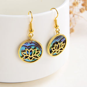 Abalone Paua Earrings Gold Plated Tree Casings&Hooks, ERN1021AB
