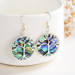 Abalone Paua Earrings Silver Plated Tree Casings&Hooks, ERN1020AB