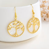 Mother of Pearl Earrings Gold Plated Tree Casings&Hooks, ERN1017MP