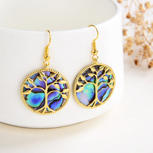 Abalone Paua Earrings Gold Plated Tree Casings&Hooks, ERN1022AB