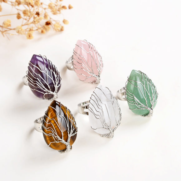 Gemstone Teardrop Rings with Silver Plated Wire Tree, Small Size, RNG0001XX
