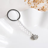 Clear Quartz 6mm Beads Keychain Silver Plated Buddha In Lotus Charm Design, KCH0004CQ