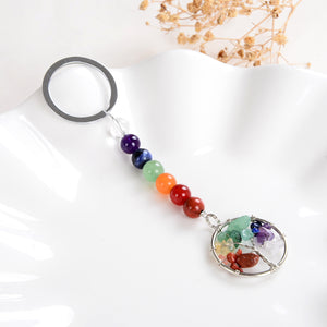 7 Chakra Keychain with Silver Plated Copper Tree Design, KCH0016CH