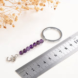 Amethyst Keychain Silver Plated Ohm Charm Design, KCH0007AT