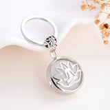 Gemstone Round Locket Keychain Buddha in Lotus Rhodium Plated Design, KCH0018XX