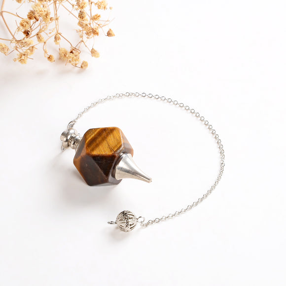 Tiger's Eye Pendulum With Metal Top&Bottom Design, Large Size, PNM0002TE