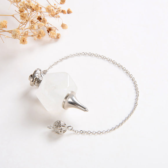 Clear Quartz Pendulum With Metal Top&Bottom Design, Large Size, PNM0004CQ