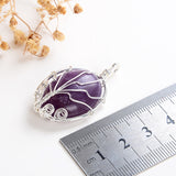 Gemstone Oval Silver Plated Tree Pendant, PND6146XX