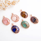 Gemstone Pendant Rose Gold Plated Wire Tree, PND6148XX