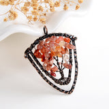 Gemstone Copper Plated Sheild shape Tree Pendant, PND6152XX
