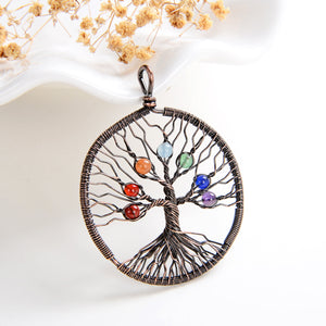 7 Chakra Gemstone Chips Round Copper Plated Wire Tree Pendant, PND6156CH