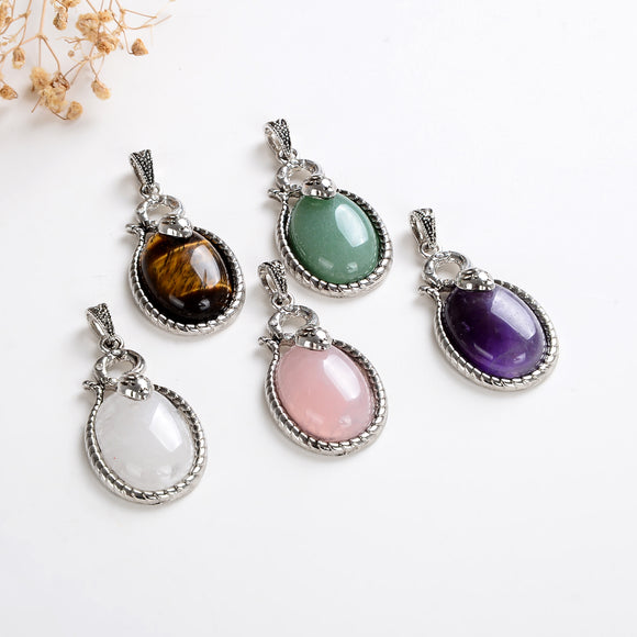 Gemstone Silver Plated Oval Pendant, PND6160XX