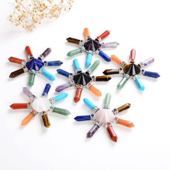 Gemstone Cone Energy Generators With 7 Chakra Crystal Points, ERG0101XX