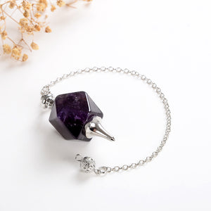 Gemstone Pendulum With Metal Top&Bottom Design, Large Size, PNM0007XX