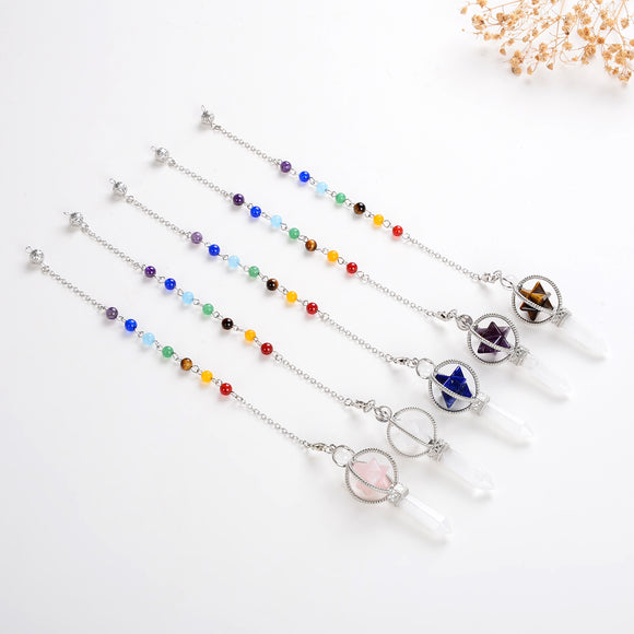 Gemstone Pendulum With Merkaba Star Design, Large Size, PNM0008XX