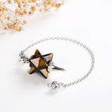 Gemstone Merkaba Star Pendulum With Metal Top&Bottom Design, Large Size, PNM0010XX