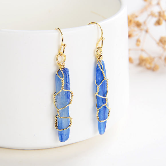 kyanite Gold Plate Earrings with Casings&Hooks, ERN1026KT