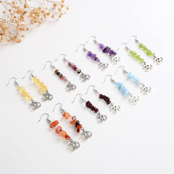 7 Chakra Silver Plated Earrings with Ohm Charm, ERN1027CH