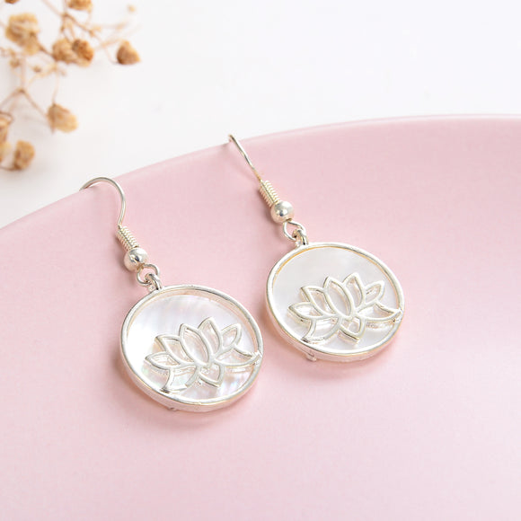 Mother of Pearl Earrings Silver Plated Lotus Flower Casings&Hooks, ERN1019MP