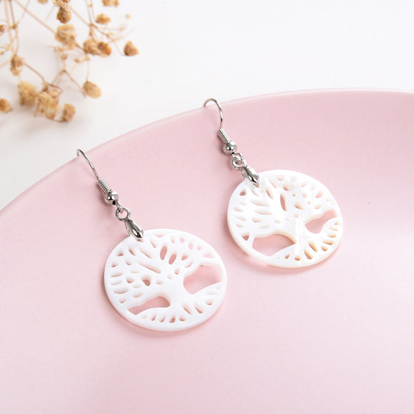 Mother of Pearl Tree Earrings Silver Plated Casings&Hooks, ERN1016MP