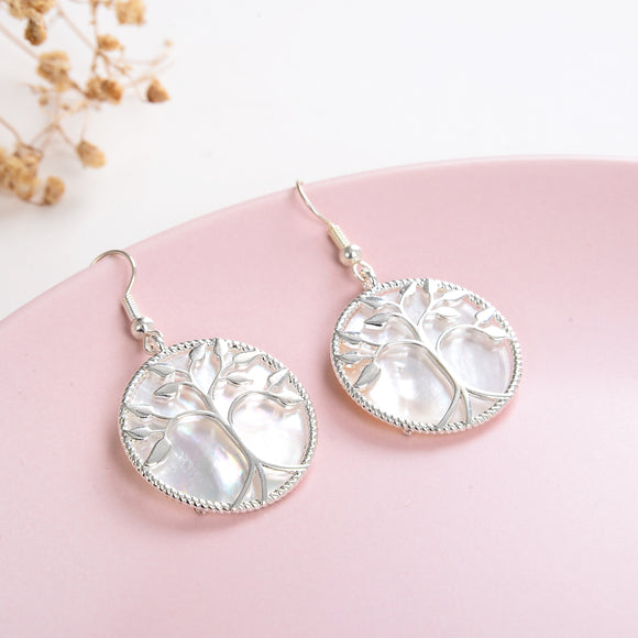 Mother of Pearl Tree Earrings Silver Plated Casings&Hooks, ERN1015MP