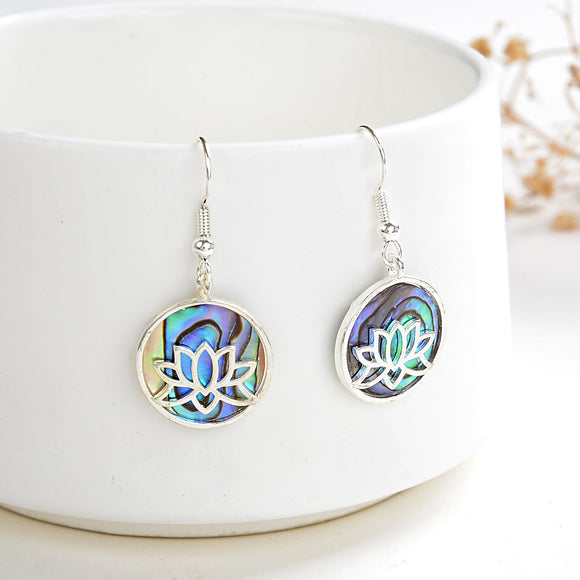 Abalone Paua Earrings Silver Plated Tree Casings&Hooks, ERN1028AB