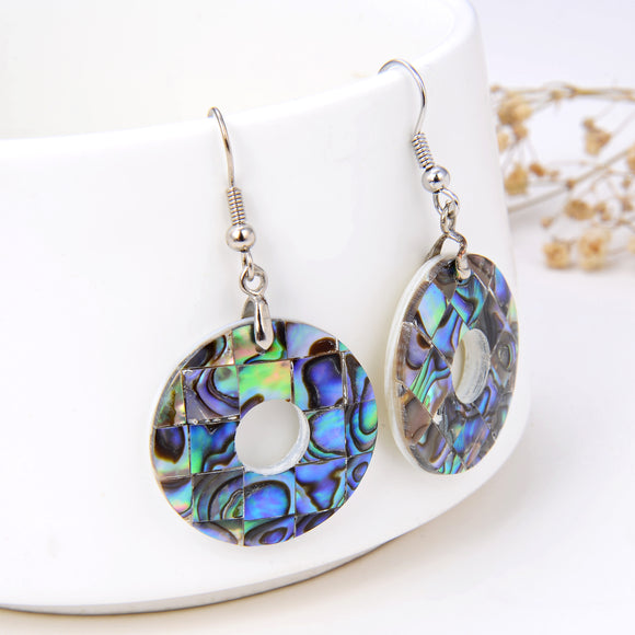 Abalone Paua Mosaic Doughnut Pair Of Earrings, ERN1002AB