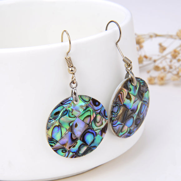 Abalone Paua Mosaic Round Pair Of Earrings, ERN1003AB