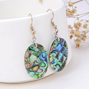 Abalone Paua Mosaic Oval Pair Of Earrings, ERN1004AB