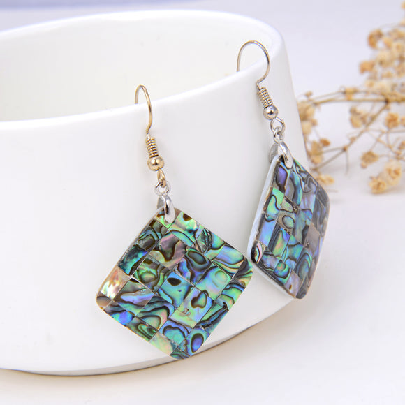 Abalone Paua Diamond Shape Mosaic Pair Of Earrings, ERN1005AB