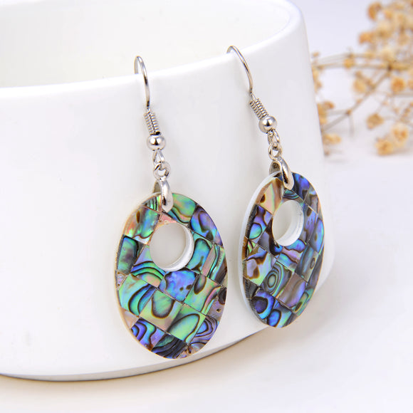 Abalone Paua Mosaic Oval Pair Of Earrings With Round Hole, ERN1006AB