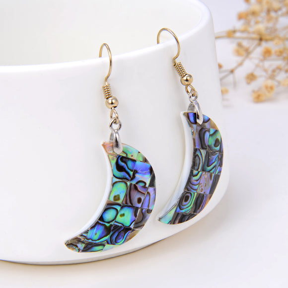 Abalone Paua Crescent Moon Pair Of Earrings, ERN1013AB