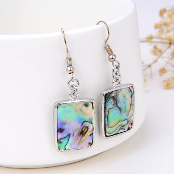 Abalone Paua Rectangle Earrings Silver Plated Copper Casings&Hooks, ERN1008AB