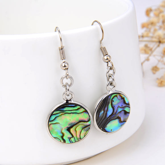 Abalone Paua Round Earrings Silver Plated Copper Casings&Hooks, ERN1009AB