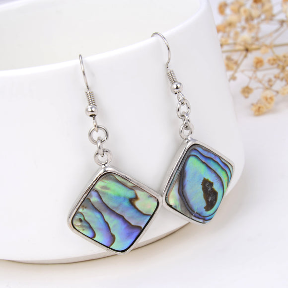 Abalone Paua Diamond Shape Earrings Silver Plated Copper Casings&Hooks, ERN1011AB