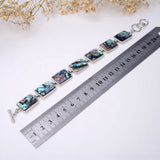Abalone Paua Rectangular Medallions Bracelet With Toggle Clasp, Brt2004